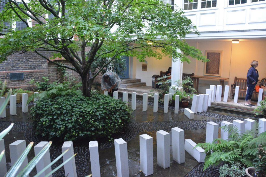 The #Dominoes350 event for the 350-year commemoration of the Great Fire of London passed through the St Vedast courtyard. Photo © Barry Hamilton.