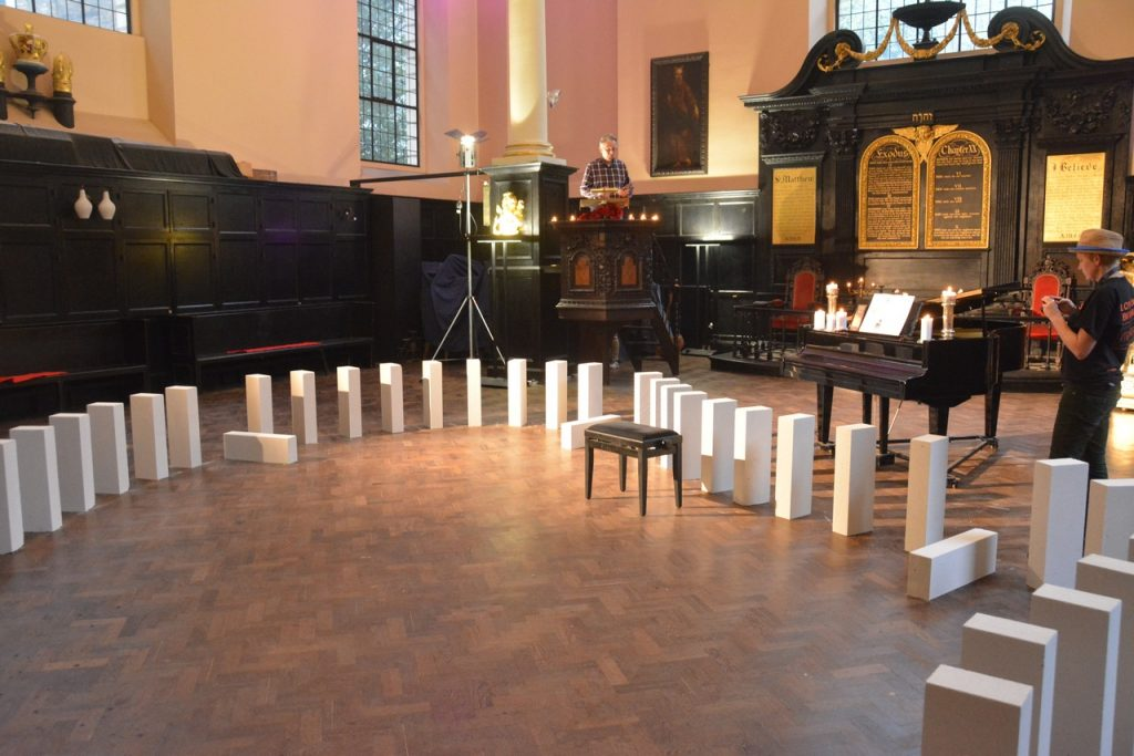 """The """"domino"""" breeze blocks passed through St Vedast's daughter church, St Anne and St Agnes, as part of a series of commemorations of the 350-year anniversary of the Great Fire of London. Photo © Barry Hamilton."""