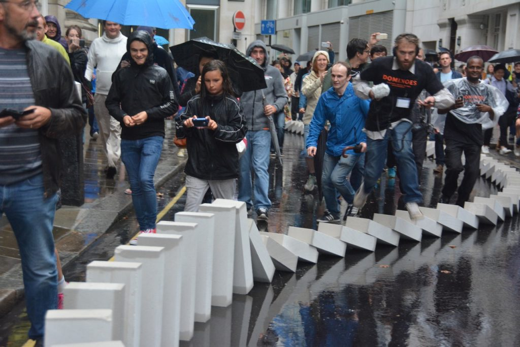 """The """"domino"""" breeze blocks passed through St Vedast's parish, and were part of a series of commemorations of the 350-year anniversary of the Great Fire of London. Photo © Barry Hamilton."""