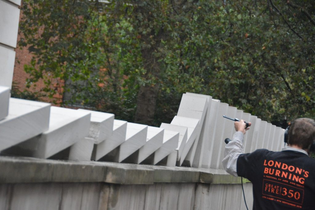 """The """"domino"""" blocks passed through St Vedast's parish, and were part of a series of commemorations of the 350-year anniversary of the Great Fire of London. Photo © Barry Hamilton."""