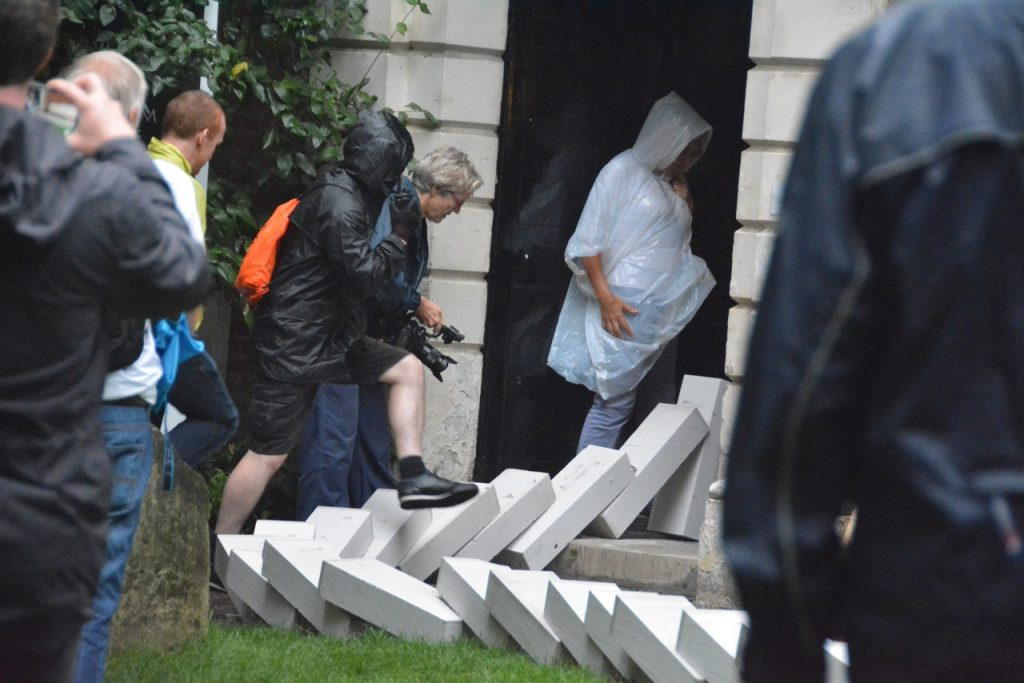 """The """"domino"""" blocks passed through St Vedast's daughter church, St Anne and St Agnes, as part of a series of commemorations of the 350-year anniversary of the Great Fire of London. Photo © Barry Hamilton."""