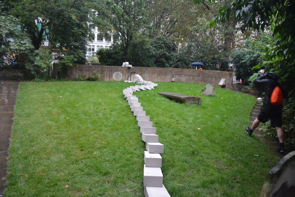 """The """"domino"""" blocks passed through the parish of St Vedast's daughter church, St Anne and St Agnes, as part of a series of commemorations of the 350-year anniversary of the Great Fire of London. Photo © Barry Hamilton."""