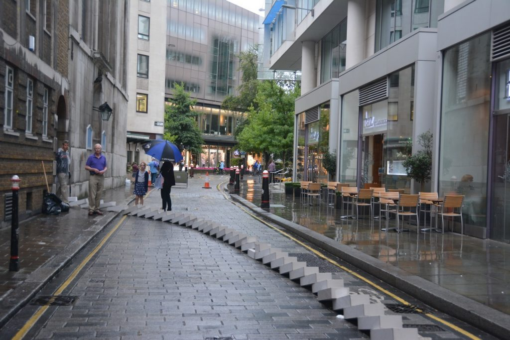 A view of the blocks leading out of St Vedast-alias-Foster and up Foster Lane. Photo © Barry Hamilton.